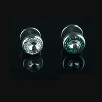 zirconia stud earrings - Titanium Steel Round Sun CZ Geometric Earrings for women Men Christmas Stud Earrings Mix Order cm cm