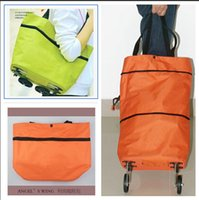 Cheap Free Shipping Portable Shopping Cart Foldable Shopping Trolley Case Tote Bags With Wheels Rolling Folding Storage Bag Frozenc1078 20pcs