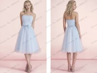 Wholesale light blue Junior Bridesmaid Dresses strapless pleated bow belt knee length a line party maid of honor gowns zipper