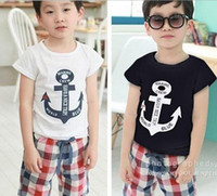 anchor blue clothing - Summer clothing children suit boat anchor short sleeves t shirt plaid pants boys casual sets pure cotton kids outfits set GH149