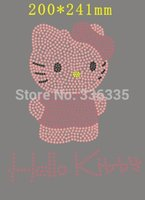 Wholesale New arrival x24 cm colors kitty hotfix rhinestones motif heat transfer iron on patch accessory
