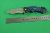 Wholesale Boker blue signal lifesaving knife C HRC steel aluminum handle gray titanium face folding knives