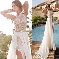 halter top wedding dress - summer beach chiffon wedding dress with halter crew neck lace short top chiffon side slit skirt A line short long bridal gowns