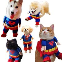 festival clothing - Fashion Pets Superman Apparel Costume Dogs Outwear Puppy Cats Cosplay Party Christmas Festival Show Clothes