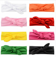 Wholesale 16 Colors Baby Cotton Headband Knot Tie Headband Headwrap Vintage Head Wrap Photo Prop Stretchy Knot Girls Hair Accessories