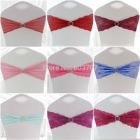 Wholesale Various Color Elegance Jacquard Lace Chair Sash Band With Plastic Buckle For Wedding