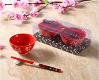 bamboo rice bowl - Hotsale Chinese Dinnerware Set for with Floral Pattern Red Ceramic Rice Bowls Bamboo Chopsticks Wedding Gifts