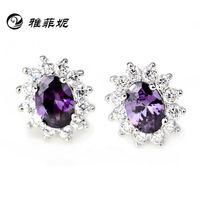Wholesale 925 sterling silver earrings amethyst earrings Korean version of the diamond jewelry factory direct