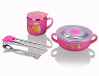 Wholesale Stainless steel tableware of children Baby a set of four chopsticks drink cup ears bowl and spoon