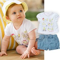 Cheap baby boys girls clothing set kids clotes summer Sunshine girl cartoon printing and pants with short sleeves Free postage