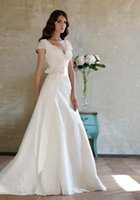 autumn love story - 2015 New love story modest appliques lace ribbon v neck capped sleeves trumpet style wedding dresses bridal gown dress custom made
