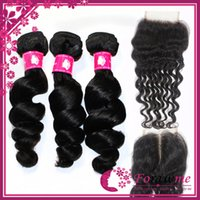 Cheap Brazilian Hair lace closure with bundles Best Loose Wave 12-30inches brazilian hair
