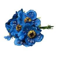 al por mayor flores azules de la sombrerería-Terylene Artificial flor del crisantemo decoración sombrerería Azul 11cm (4 3/8