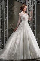 Wholesale Style Wonderful Ball Gown Wedding Dresses Long Sleeves Lace bodice and Beaded Sash WIth Lace Appliques Court Train Wedding Bridal Gown