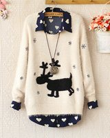 Wholesale 2015 New Christmas Short Sweaters Cute Snowflake Embroidery Fawn Mohair Long Sleeve Beige and A Navy Blue Size M Hot Sale