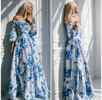 Wholesale Women floral runway Maxi Dresses Elegant white Strapless Off the Shoulder long Sleeve flower printed floor length long maxi Dress