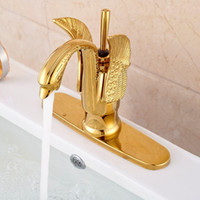 Wholesale Golden Deck Mount Brass Lavatory Sink Mixer Taps Bathroom Vessel Sink Faucet Swan Shape Hole Cover Plate