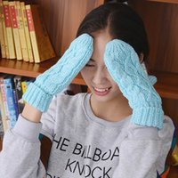 Wholesale Korean Spring Winter Women Wool Knit Hemp Handmade Crochet Mittens Lake Blue Gloves Casual Cycling Sports Gloves Warm Christmas EQJ2