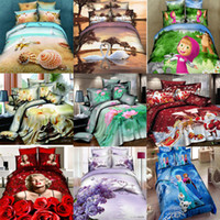 Wholesale Fantastic d Bedding Sets Oil Painting Scenery Rose Flowers Frozen Christmas Cotton Comforter Sets Queen Full Bed Duvet Cover Set