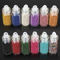 Wholesale 12 Different Color Set Tiny Circle Bead Decoration D Nail Art Beads Caviar Nail Art Bottle Set