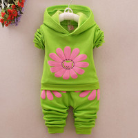 100% cotton suit - New Children Clothing Kids Cute Suit Top Pants Flower Pattern Spring Winter Warm Clothes Suit s