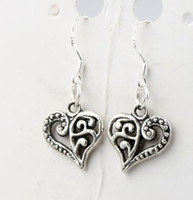 Wholesale 13 x31 mm Tibetan Silver Open Half Flower Cute Heart Charm Pendant Earrings Silver Fish Ear Hook Chandelier E919