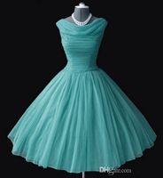 bateau neckline bridesmaid dresses - 1950 s s Vintage Bridesmaid Dresses Ball Gown Bateau Neckline Tea Length Prom Dresses Short Party Gowns Homecoming Graduation Dresses New