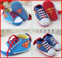 Girl new model shoes - 2015 New fashion Baby Boys High Top Shoes Boys blue Superman Modelling Toddler shoes soft sole baby Walkers pc pairs