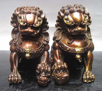 lion statue - Collectibles Pair Chinese Bronze Guardian Lion Foo Fu Dog Statue