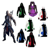 Wholesale Hot Sale Assassins Creed III Conner Kenway Hoodie Coat Jacket Cosplay CostumeZ00012