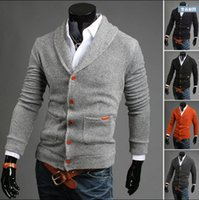 Wholesale 2016 spring new fashion slim men s Sweaters Cardigan Casual men s clothing pure colour mens s Sweatshirts colours gray