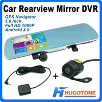Cheap HD 5 inch Android Mirror Monitor GPS Navigation A10 512MB 8GB 1080P Digital Video Recorder + Rear View Camera With Car DVR Newest IGO9 Map