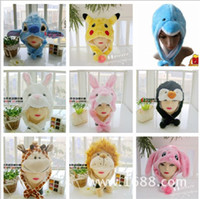 Wholesale MIX Cartoon Animal Hat Long Fluffy Plush Winter Cap Mask Scarf Hood D Earmuff Headgear Dance Party Beanie Hats Caps LJJA1270 A