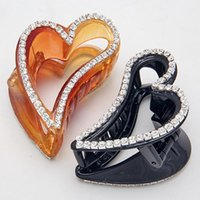 Wholesale Peach Heart Black Crystal Rhinestone Claw Hairpin Clip Women Hair Clip Accessory