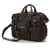 "Cheap Rare Crazy Horse Leather Men's Espresso Business Briefcase Laptop Bag Dispatch Travel Bags Huge 16.5"" Free Shipping JMD #7028R"