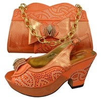 Wholesale Fashion Item GF05 Orange color Most popular Italian lady High heel cm PU leather shoes and bag sets for party