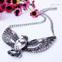 Pendant Necklaces silver eagle - Silver Eagle Pattern Pendant Necklaces Charms Rhinestone Jewelry For Thanksgiving Day Christmas Gifts XL5641