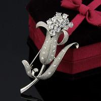 batch platinum - Free postage brooch new diamond brooch a flower corsage brooch scarf buckle mixed batch