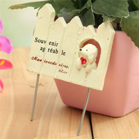 Wholesale DIY Potted Flower Plant Craft Garden Decoration Mini Whiteboard Fence Lovely Dog Ornament Welcome Sign Borad cm x cm