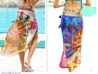 Cheap retro ethnic Summer Dress swimwear Beach cover up Bikini Wraip Sun Pattern Chiffon Fabric Sarong Printed Craf Dress pareo saida