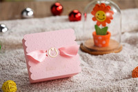 baby shower - Pink Baby Shower Party Favor Boxes Cheap Favor Boxes with Bow