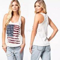 Wholesale DROP SHIPPING Cotton Cute Fashion Flag Print Women Vest Women Tank Top Women T Shirt S XL B2