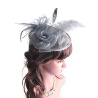 Wholesale New Fashion Sexy Lady Girl Large Headband Sinamay Bride Feather Fascinator Hat on Party Church Wedding