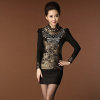 Wholesale New winter butterfly flower diamond mesh lace high necked T shirt bottoming shirt middle aged mother dress shirt