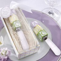 baby butter - 100pcs New Baby on the Block Alphabet Block Spreader butter knife wedding baby shower favor party gifts