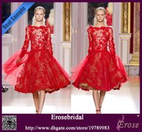 Cheap Best Selling Bateau long Sleeve Red Lace Zuhair Murad Short Evening Dresses 2013 Cocktail Dresses