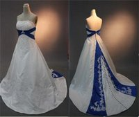 Wholesale Real Image Long Satin Wedding Dresses Middle East Style A line Strapless Lace Appliques Royal blue and White Court Train Bridal Gowns