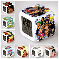 bell digital clock - One Piece Luffy Retail monkey d luffy LED bells Changed Digital Colors Alarm Clocks led toys Pirates
