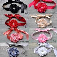 Wholesale New Arrival Lace Flower Ribbon Children Belts Diamond Flower Girls Wedding Dress Belt Children Flower Sash A188
