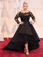 Wholesale Cap Sleeved Lavender Evening Gown - 2015 Oscar Kelly Osbourne Evening Dress Long Sleeved Lace Scallop Black High Low Red Carpet Sheer Celebrity Dresses Party Ball Gown